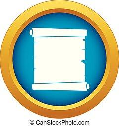 błękitny, wektor, odizolowany, papier, retro, woluta, ikona
