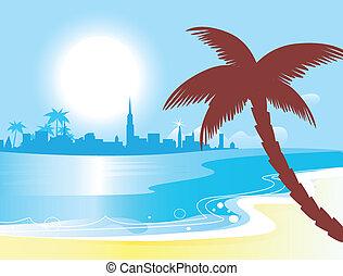 błękitny, wektor, słoneczny, krajobraz, ocean