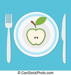 błękitny, widelec, wektor, jabłko, płyta, pojęcie, ilustracja, trzym!ć, pół, healhty, jeść, owoc, zielony, dieta, tło, cień, nóż, pień