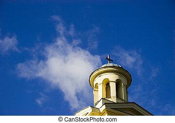 błękitny, wieża, niebo, kościół