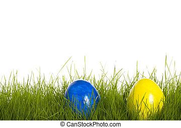 błękitny, wielkanoc, żółte tło, biały, trawa, jajko