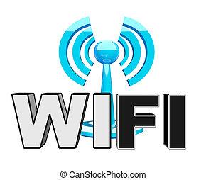 błękitny, wifi, nowoczesny, ikona, (wireless)