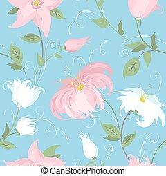 błękitny, wiosna, seamless, wektor, tło, kwiaty
