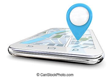 błękitny, wskazówka, smartphone., gps