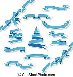 błękitny, wstążki