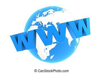 błękitny, www, dookoła, -, połyskujący, świat