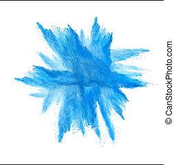 błękitny, wybuch, odizolowany, marznąć, ruch, tło, kurz, biały