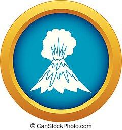 błękitny, wybuchająy, odizolowany, wektor, wulkan, ikona
