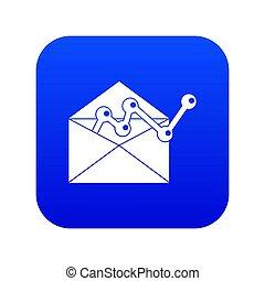 błękitny, wykres, ikona, envellope, cyfrowy
