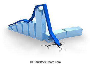błękitny, wykres, kryzys