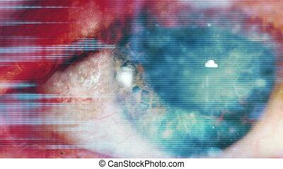 błękitny, wysoki, abstrakcyjny, tech, oko
