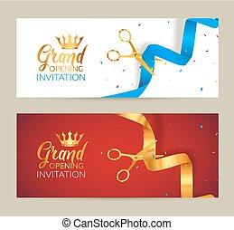 błękitny, złoty, cięty, banner., otwarcie, wstążka, zaproszenie, ceremonia, event., wielki, karta, celebrowanie