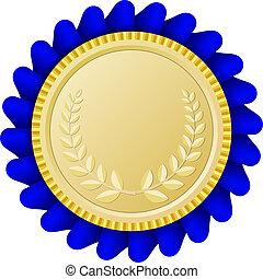 błękitny, złoty, medalion, wstążka