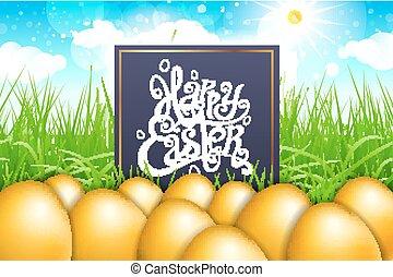 błękitny, złoty, trawa, tytuł, gpld, jaja, nowoczesny, kaligrafia, pole, wektor, sky., wielkanoc, szczęśliwy