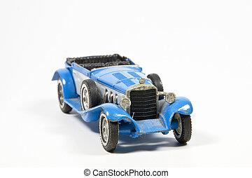 błękitny, zabawka, rocznik wina, wzór wóz, na białym