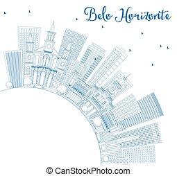 błękitny, zabudowanie, belo, szkic, space., sylwetka na tle ...