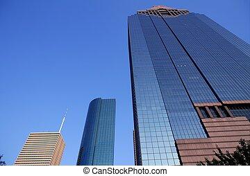 błękitny, zabudowanie, szkło, drapacz chmur, lustro, front