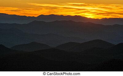 błękitny, zachód słońca, aleja, grzbiet
