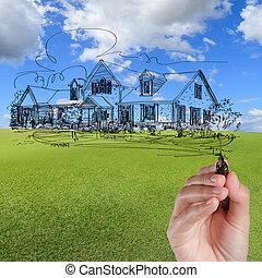 błękitny, zaciągnąć, dom, niebo, przeciw, ręka