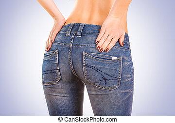 błękitny, zad, kobieta, dżinsy, sexy