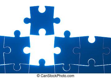 błękitny, zagadka, biały, odizolowany, tło