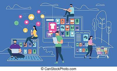 błękitny, zakupy, szkic, ludzie, tło, online