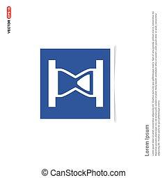 błękitny, zdejmować budowę, -, klepsydra, ikona
