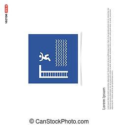 błękitny, zdejmować budowę, -, pływacki, ikona