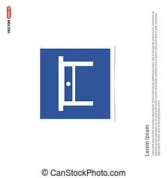 błękitny, zdejmować budowę, -, stół, ikona