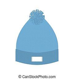 błękitny, zima, dodatkowy, trykotowy, cap., hat., przeziębienie, wełna, weather.
