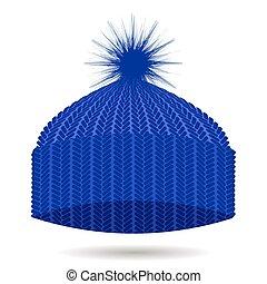błękitny, zima, isolated., korona, trykotowy, kapelusz