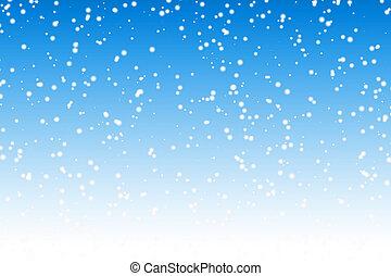 błękitny, zima, na, niebo, śnieg, tło, noc, spadanie