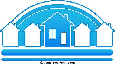 błękitny znaczą, z, domy, i, słońce, silho
