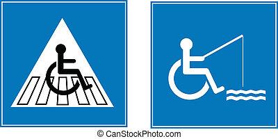 błękitny, znaki, przeszkoda