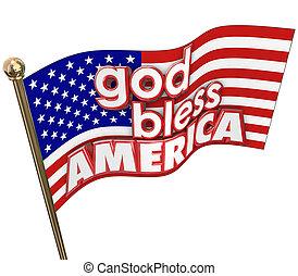 błogosławić, zjednoczony, usa, bóg, stany, zakon, bandera,...