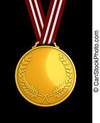 błyszczący, 3d, medal, złoty, wizerunek