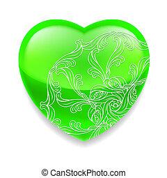 błyszczący, dekoracje, zielony, serce