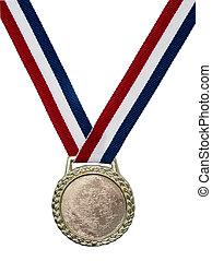 błyszczący, medal, złoty
