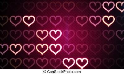 błyszczący, sercowe formy, loopable, romantyk, tło