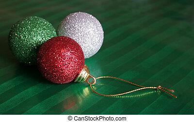 błyszczący, trzy, christma