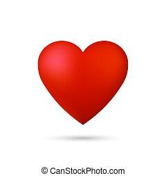 błyszczący, wektor, heart., 3d
