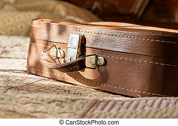 bőrönd, szoba, retro