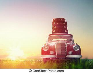 bőrönd, vannak, képben látható, tető, közül, autó.