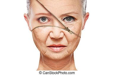 bőr, aging., emelés, anti-aging, arcápolás, megfiatalodás, fogalom, rögzít, folyamat