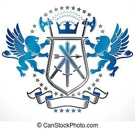bőr, címertani, adományoz, emblem., arms., vektor, szüret, tervezés