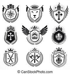 bőr, designs., címertani, gyűjtés, fegyver, vektor, szüret, emblémák, set.