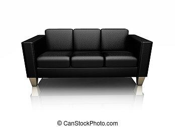 bőr kétüléses kanapé, fekete
