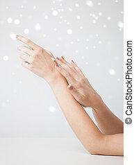 bőr, lágy, női kezezés
