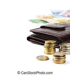 bőrtárca, pénz