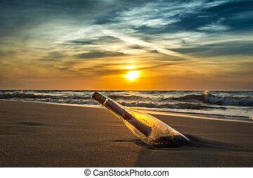 břeh, starobylý, poselství, láhev, moře